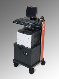 MAX mobile industrial workstation with printer shelf