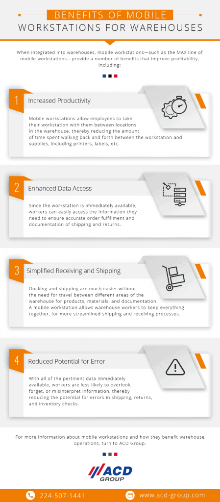Benefits of mobile workstations for warehouses infographic