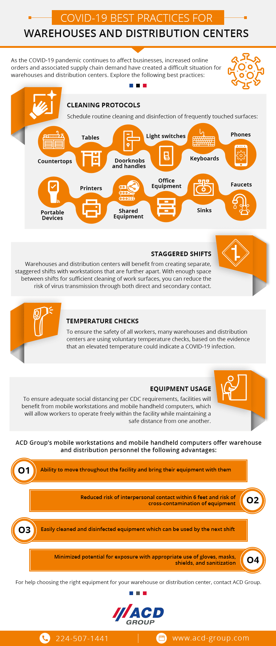 Infographic with tips for inventory management for warehouses